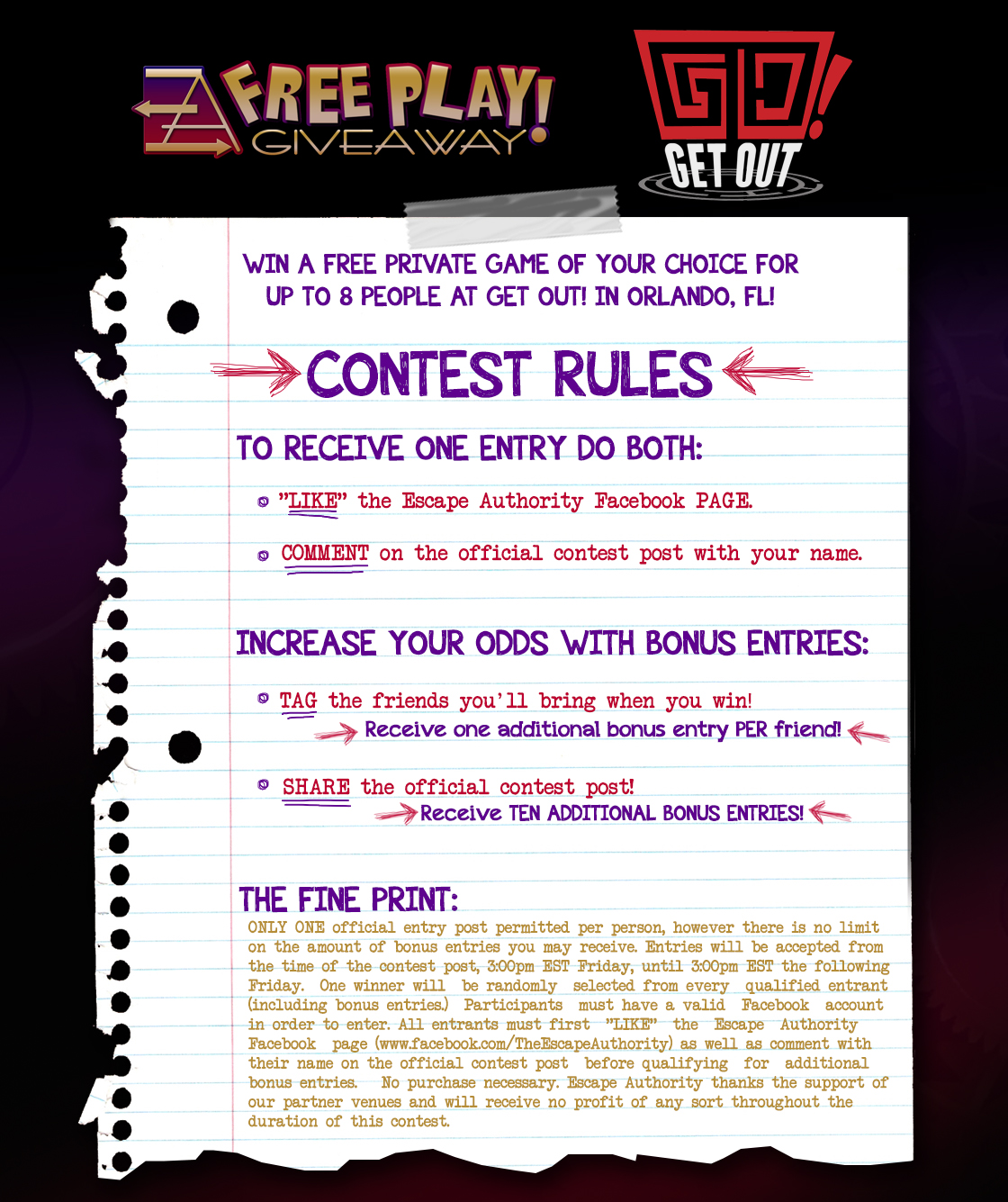 Contest: Win a FREE Private Game at Get Out! - Escape Authority