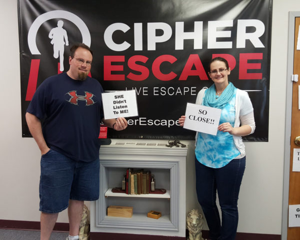 Mike and Maegen at Cipher Escape